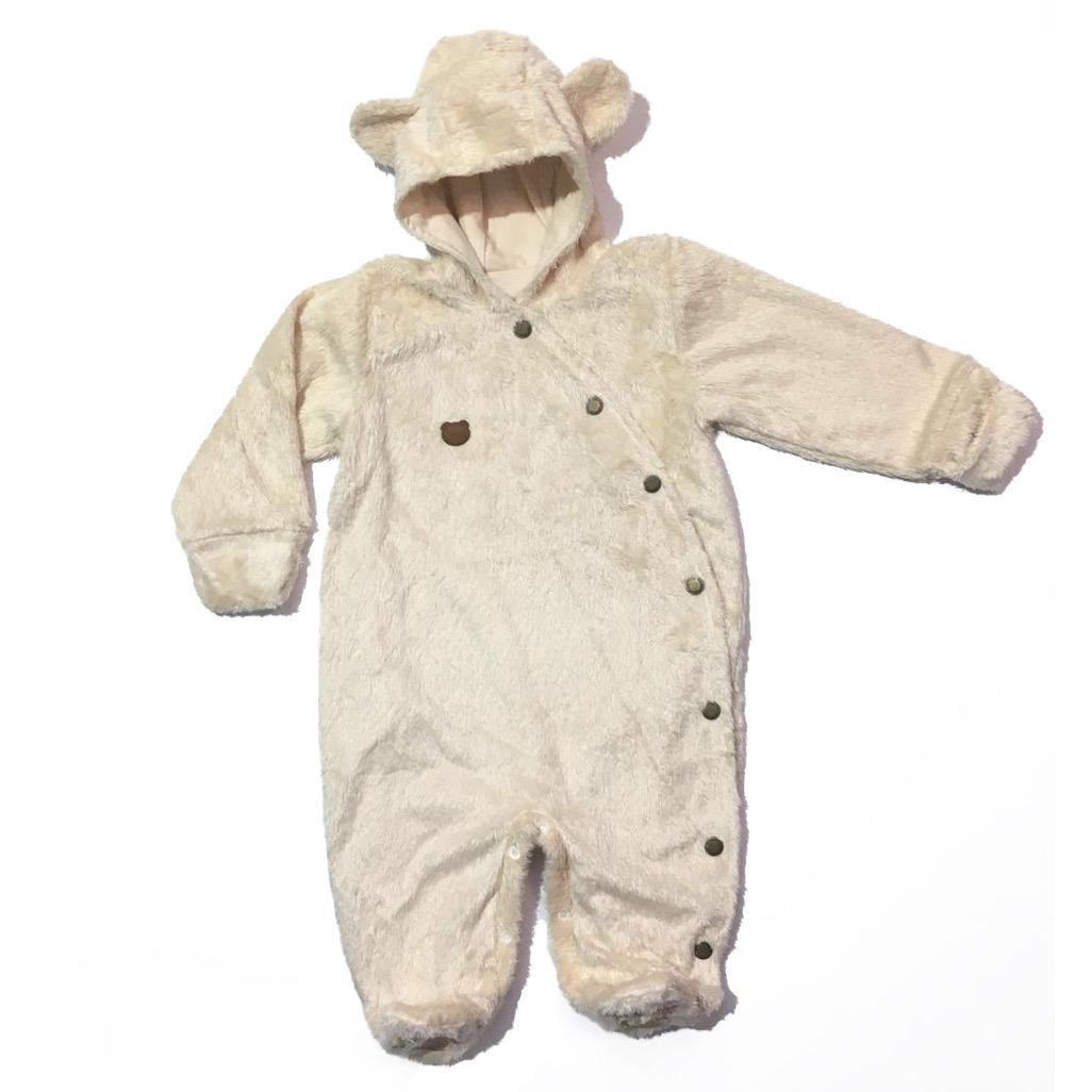 Macacão Bebê em Pelúcia Urso com orelhinhas