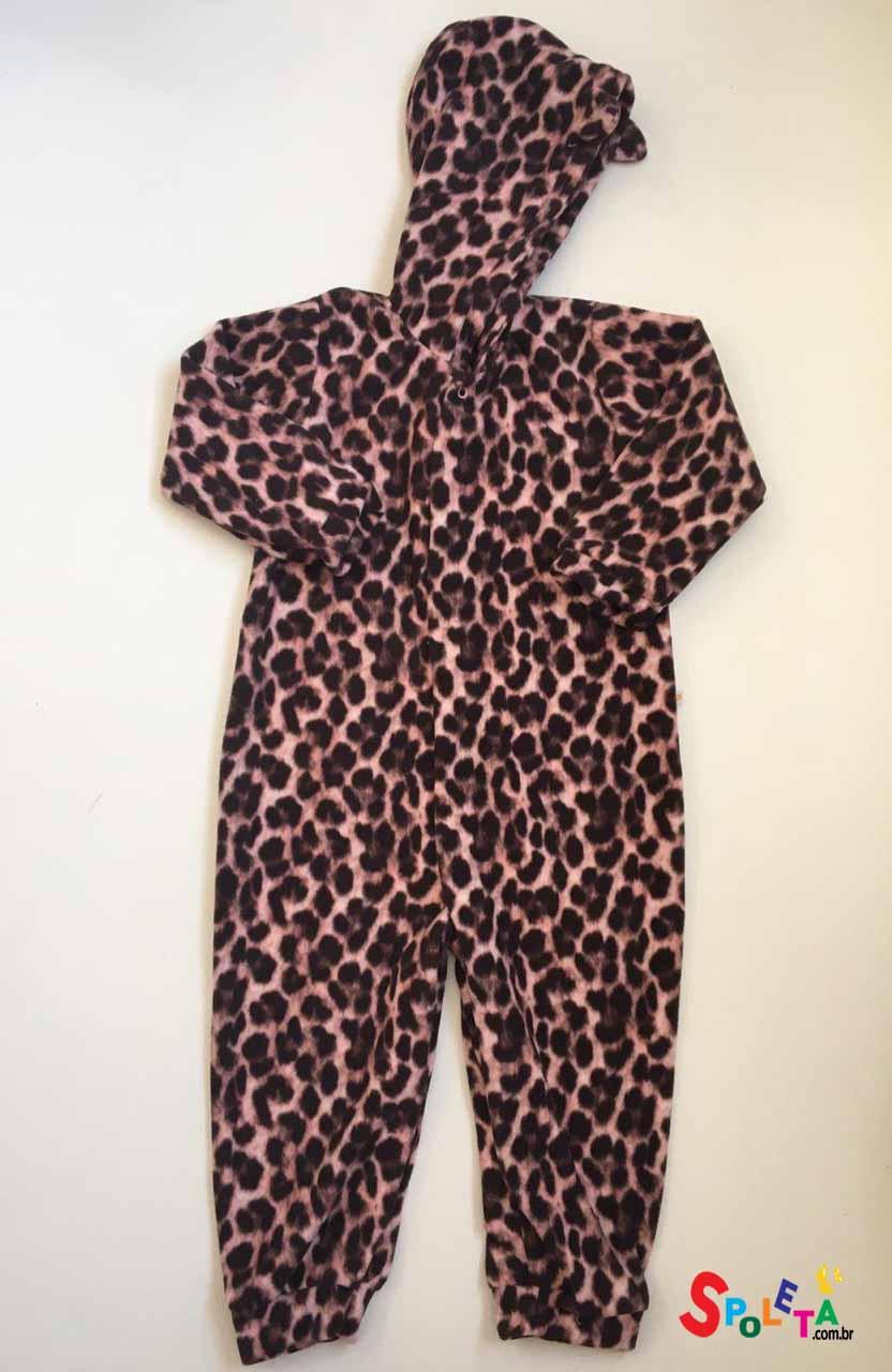 Pijama Macacão  Oncinha Rosa