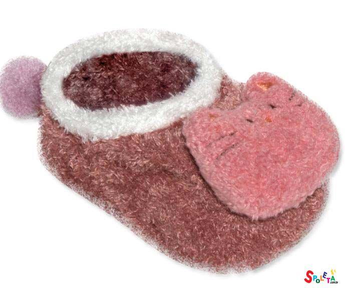 meia sapatinho com aplique pelúcia