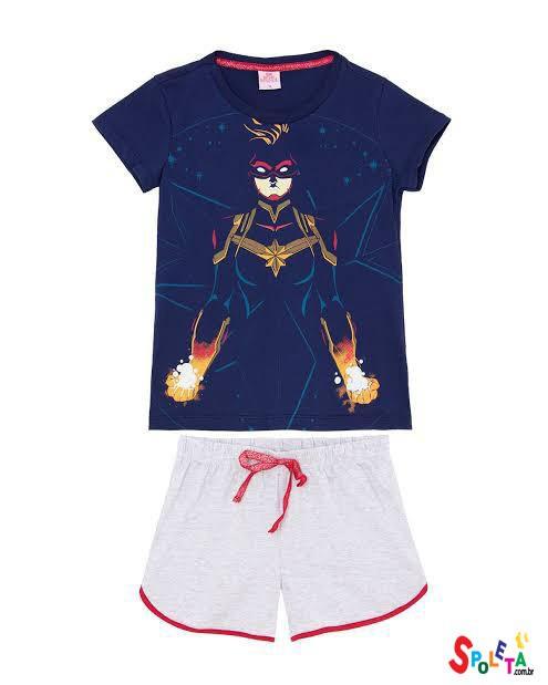Pijama Infantil Feminino Capitã Marvel