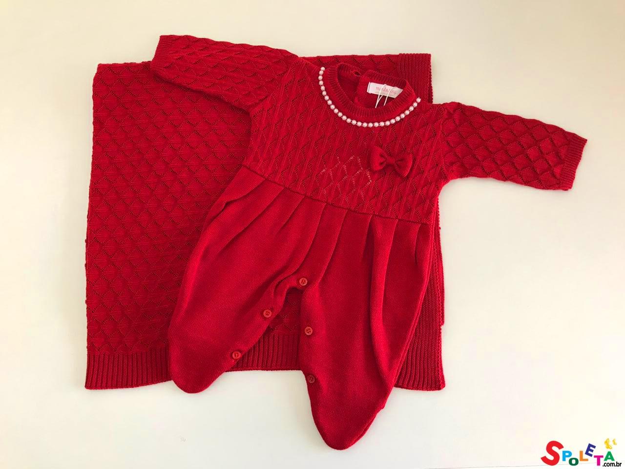 Saída Maternidade Feminina Tricô com Pérolas Vermelha