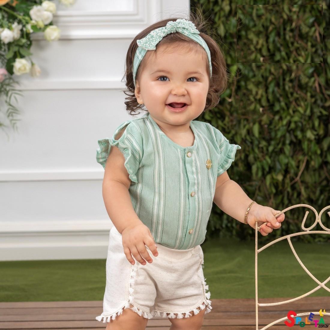Short Infantil Feminino Moletinho Crystal SM