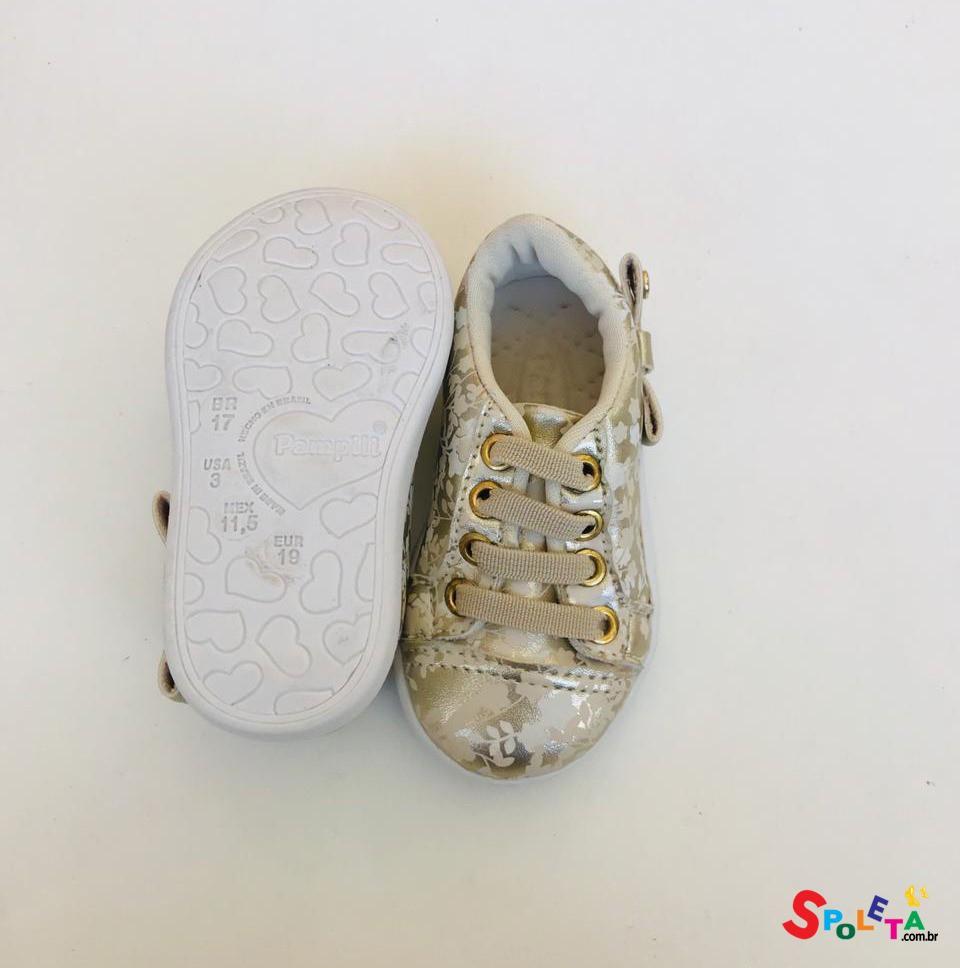 Tênis Infantil Feminino Pompom Dourado