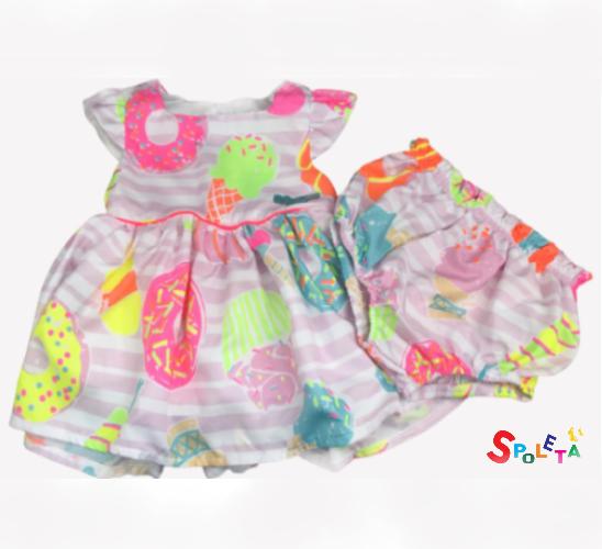 Vestido Infantil Feminino Donuts Mon Sucré