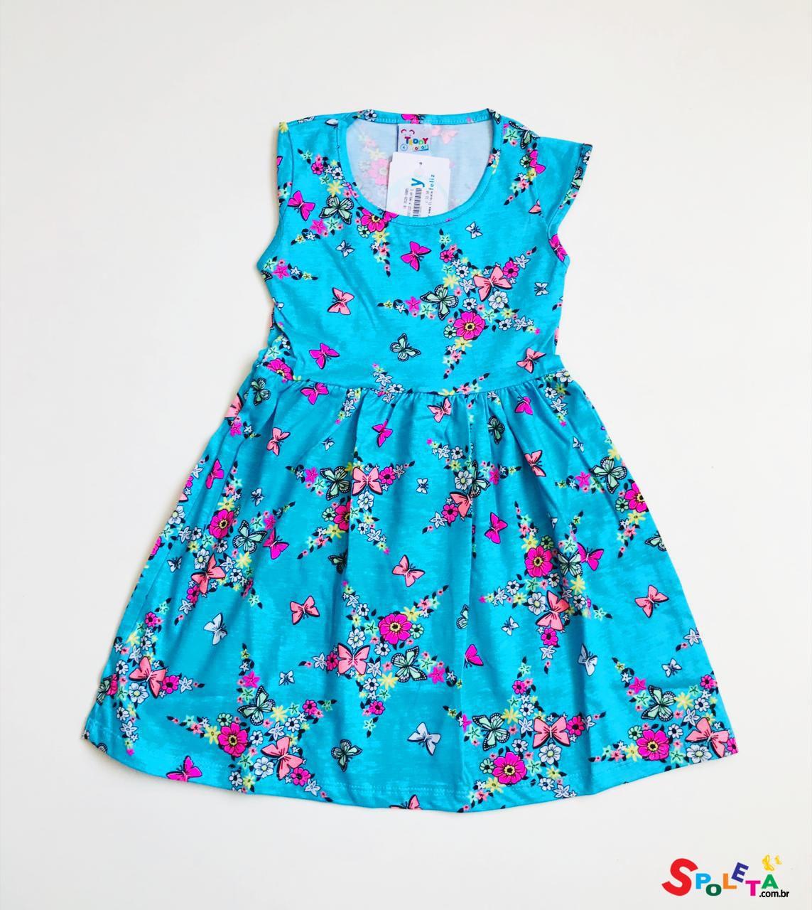 Vestido Infantil Estampado Flores