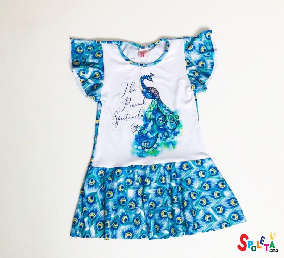 Vestido infantil plumas pavão