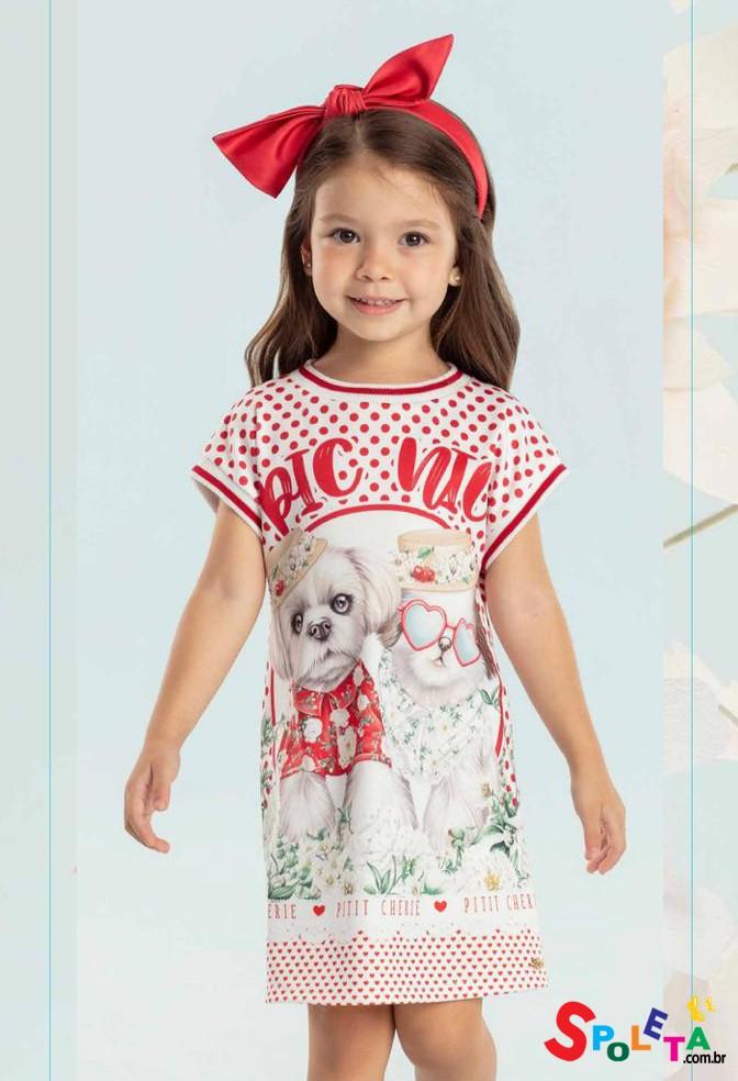 Vestido Infantil Verão Pic Nic Dogs Petit Cherrie