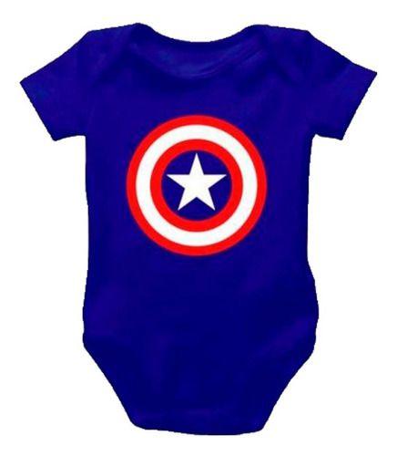 Body Personalizado Bebe - Capitão América - Mesversário