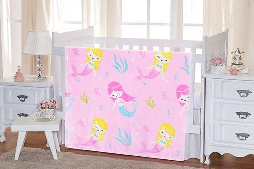 Manta Cobertor Pequena Sereia Rosa Infantil - Não Alérgico