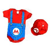 Body Personalizado Bebe Super Mario Bros com Boina - Mesversário
