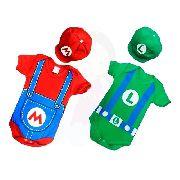 Kit Roupa De Bebe Body Mario + Luigi Com Boina
