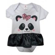 Body Personalizado Bebe Panda com Saia Mesversário Fantasia