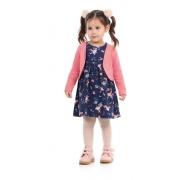 Vestido Infantil Manga Longa Moletom Com Bolero - Dila