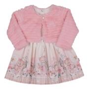 Vestido Infantil Rosa Rodado Bebê Festa C/ Casaco Paraíso