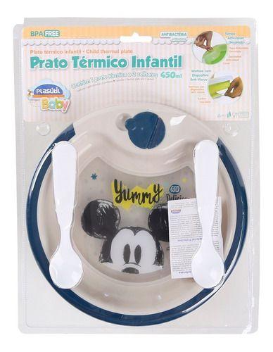 Prato Térmico Infantil Com Duas Colheres Do Mickey Plasútil