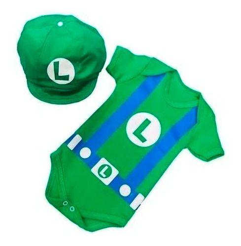 Body Personalizado Bebe- Luigi com Boina  - Mesversário