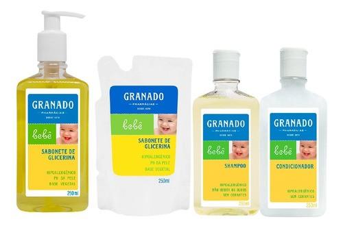 Kit Banho Bebe Granado Sabonete Refil Shampoo Condicionador
