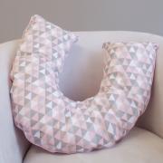 Almofada Amamentação E Apoio Para Sentar Triângulos Rosa