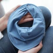 Babador Bandana Impermeável Com Regulagem Malha Azul Bebê