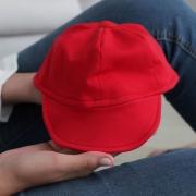 Boné Bebê Com Aba Flexível Malha Vermelho