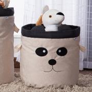 Cesto Organizador Brinquedo E Roupa Suja Médio Panda Preto