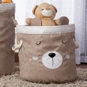 Cesto Organizador Brinquedo E Roupa Suja Médio Urso Palha