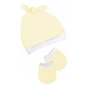 Kit 2 Peças Touca E Luvas Ajustável Bebê Malha Amarelo