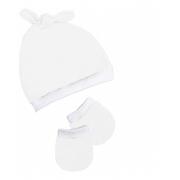 Kit 2 Peças Touca E Luvas Ajustável Bebê Malha Branco