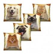 Kit Com 5 Almofadas 40 Cm X 40 Cm Cachorros