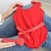 Macacão Banho De Sol, Faixa De Cabelo E Cintura Vermelho