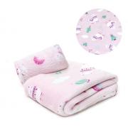 Manta Bebê Microfibra Lhamas E Cactos Rosa