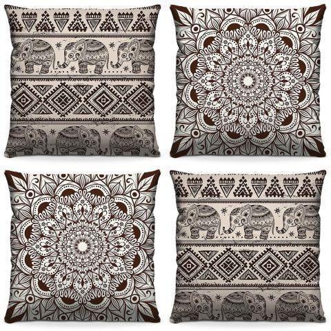 4 Almofadas S Decorativas 40 Cm X 40 Cm Mandala II