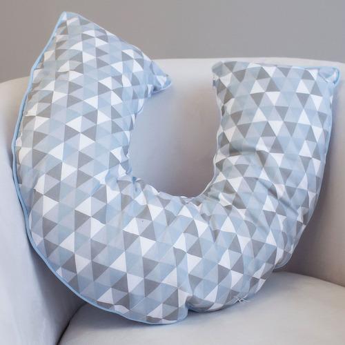 Almofada Amamentação E Apoio Para Sentar Triângulos Azul