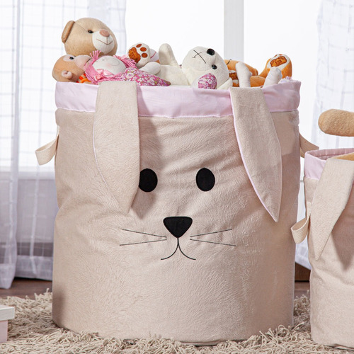 Cesto Organizador Brinquedo E Roupa Suja Grande Coelha Rosa