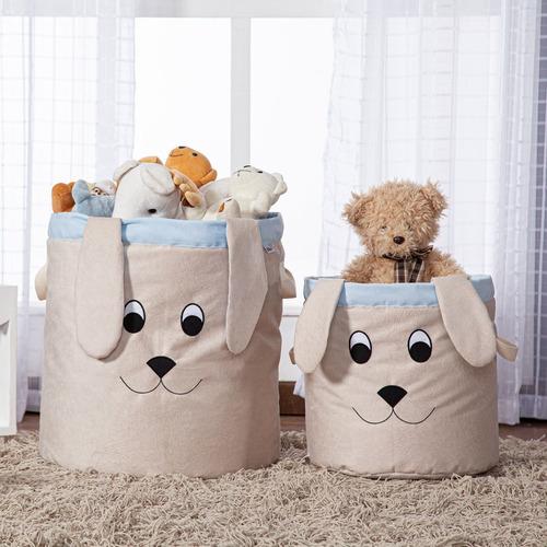 Cesto Organizador Brinquedo E Roupa Suja Médio Cachorro Azul