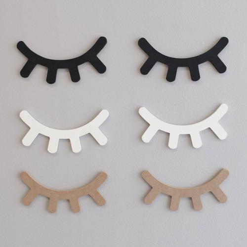 Cílios Olhos Sonolentos Decorativos Mdf Branco