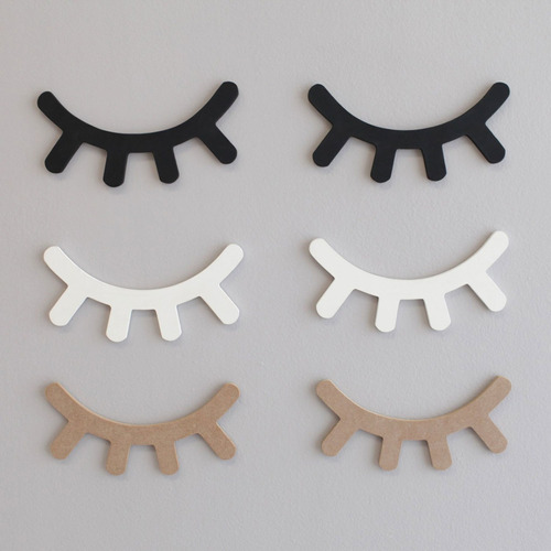 Cílios Olhos Sonolentos Decorativos Mdf Preto