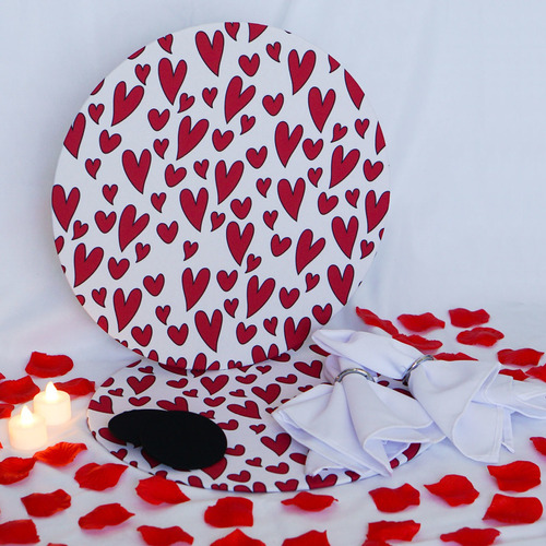 Kit 15 Peças Jogo De Mesa Dia Dos Namorados Corações