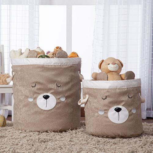Kit 2 Pçs Cestos Organizadores Brinquedo E Roupa Suja Urso