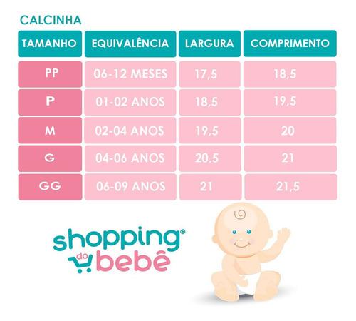 Kit 3 Peças Calcinhas Bebê E Infantil Malha Azul