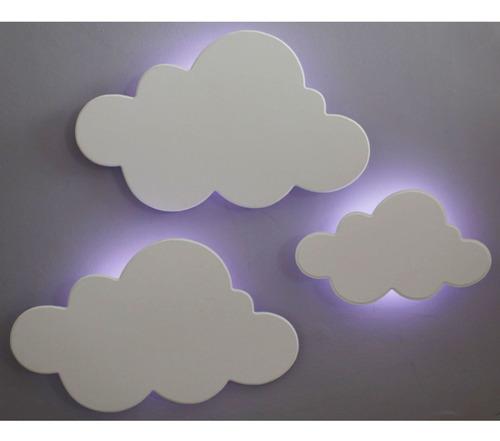 Kit 3 Peças Luminárias Decorativas Nuvens Com Led Luz Fria