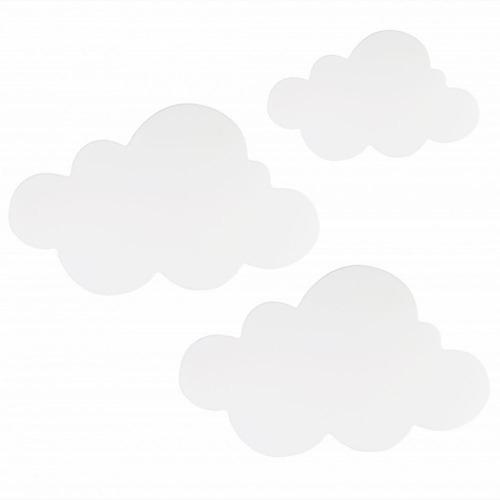 Kit 3 Peças Luminárias Decorativas Nuvens Com Led Luz Quente