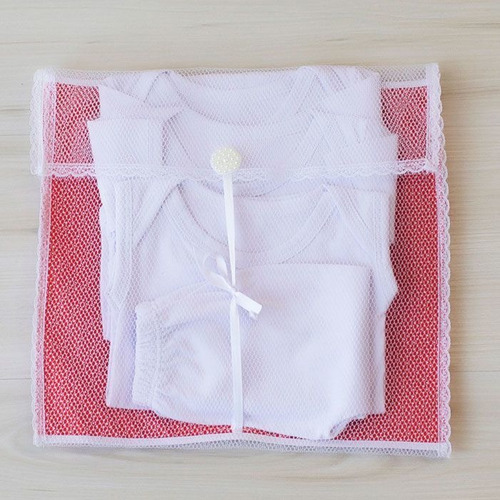 Kit 4 Pç Saquinhos Maternidade Duplo P/ Roupas Tule Vermelho
