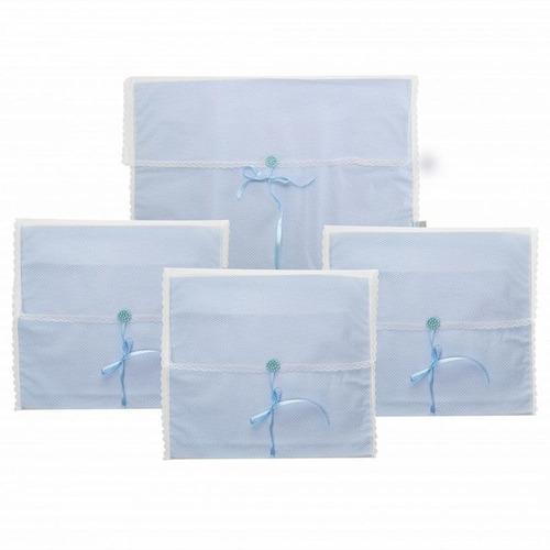 Kit 4 Pçs Saquinhos Maternidade Duplo P/ Roupas Tule Azul