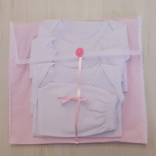 Kit 4 Pçs Saquinhos Maternidade Duplo P/ Roupas Tule Rosa