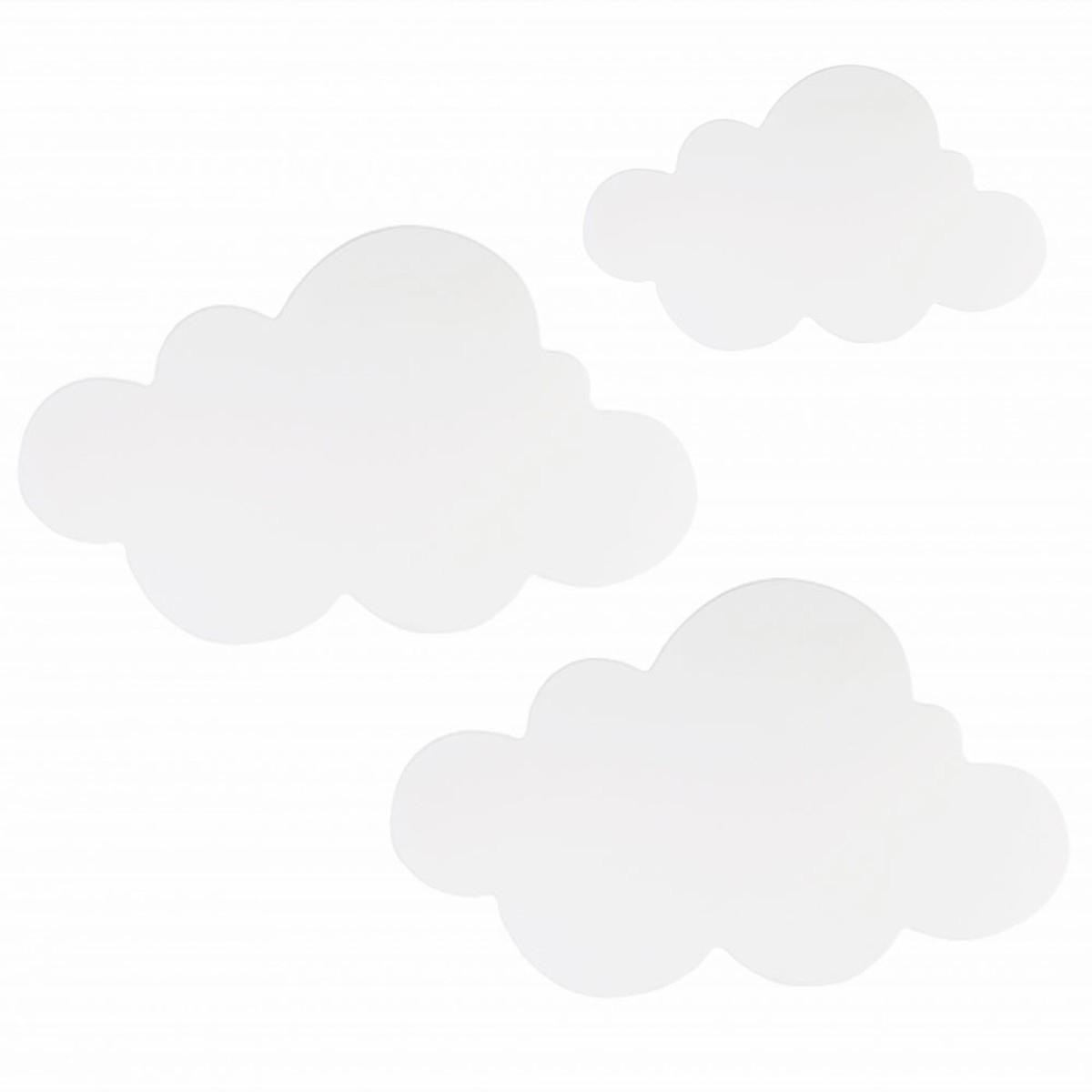 Kit Nuvens Luminária 3 Pçs MDF LED Luz Fria