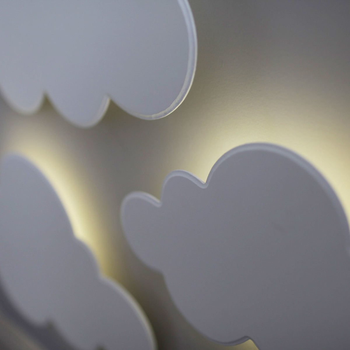 Kit Nuvens Luminária 3 Pçs MDF LED Luz Quente