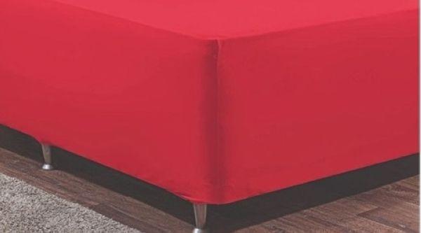 Lençol Cama Box Dispensa Saia Malha Casal 3 Peças Vermelho