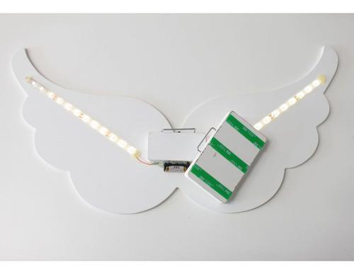 Luminária Decorativa Asa De Anjo Com Led De Luz Quente