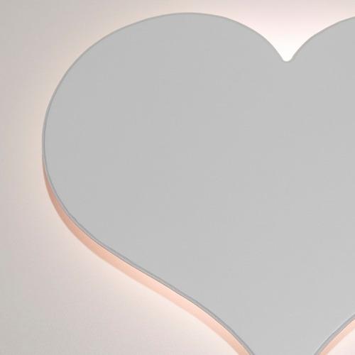 Luminária Decorativa Coração Mdf Branco Com Led De Luz Fria